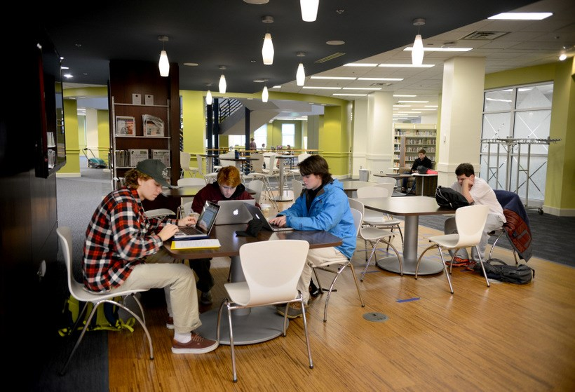 Students working by the café Cups in Fintel Library