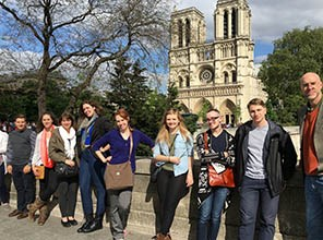 Students by the Notre Dame