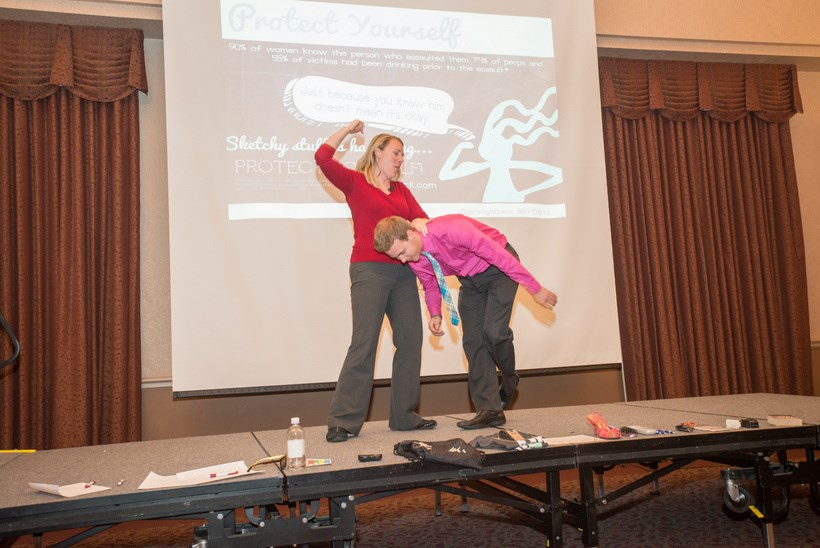 Presenters at the Gender and Women's Studies forum doing a demonstration