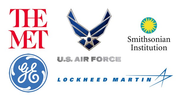 Logos for organizations where alumni work: The Met, Hilton, Lockheed Martin, The U.S. Air Force, Smithsonian Institution