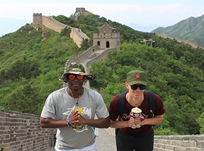 Students on the Great Wall of China