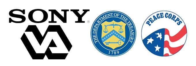 Logos for organizations where alumni work: Sony, Department of the Treasury, Peace Corps