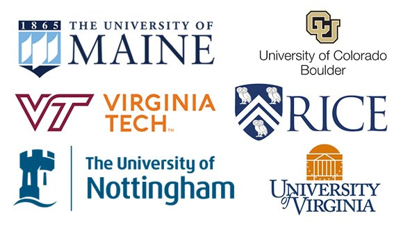 Logos of: Virginia Tech, the University of Maine, Rice, University of Virginia, University of Colorado at Boulder, University of Nottingham