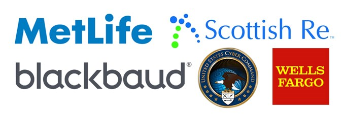 Logos for organizations where alumni work: MetLife, Blackbaud, U.S. Cyber Command, Wells Fargo, and Scottish Re
