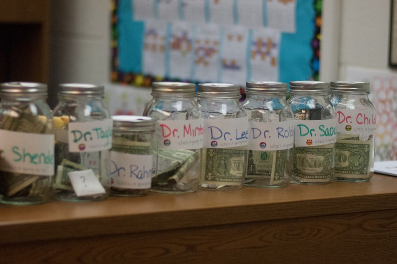 Donation jars filled with money