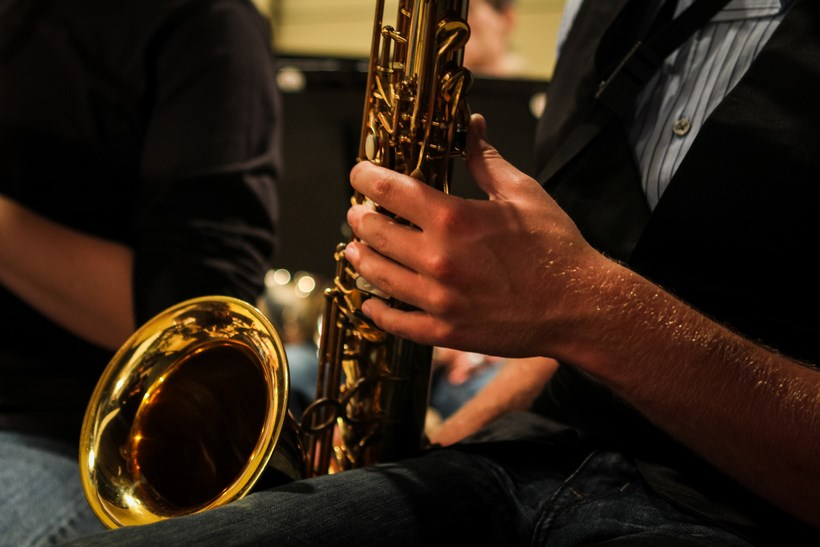 Student playing the tenor saxophone