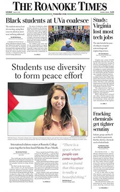 "Front page of the Roanoke Times featuring the headline ""Students use diversity to form peace effort"""