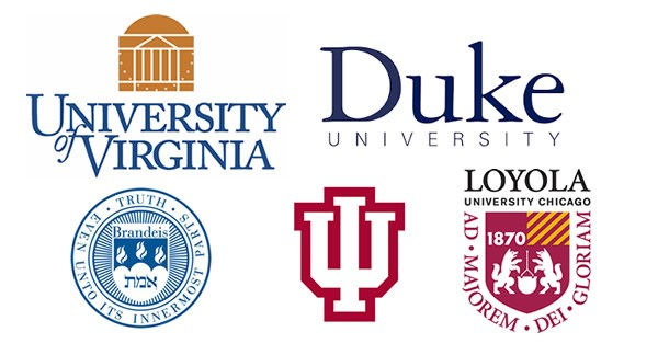 Logos of: University of Virginia, Duke University, Brandeis, Loyola University, and the University of Indiana