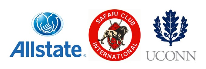 Logos for organizations where alumni work: Allstate, Safari Club International and UCONN