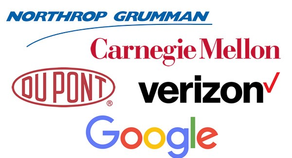 Logos of: Northrop Grumman, Carnegie mellon, DuPont, Verizon, Google