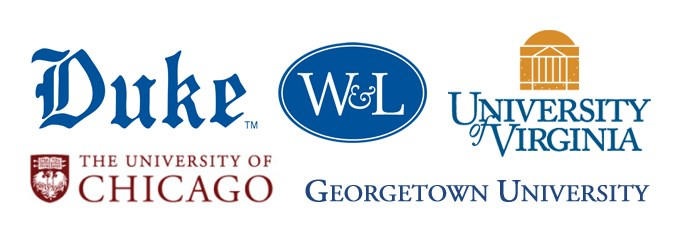 Logos of: Duke, University of Virginia, Washington and Lee University, University of Chicago, Georgetown University