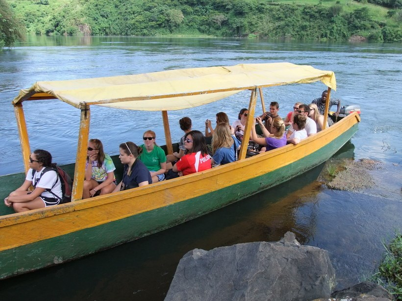 Students in a boat on a river
