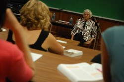 Retired Justice Sandra Day O'Connor talking with students during a Constitutional Law class at Roanoke College.