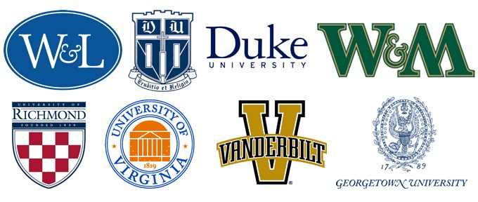 Logos of graduate schools attended by alumni: Duke University, Georgetown University, University of Virginia, University of Richmond, Vanderbilt, Washington and Lee University, William and Mary College,