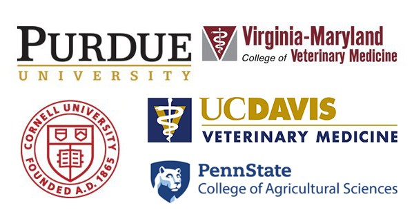 Logos of graduate schools attended by alumni: UC David, Virginia-Maryland College of Veterinary medicine, PennState, Purdue University, Cornell University
