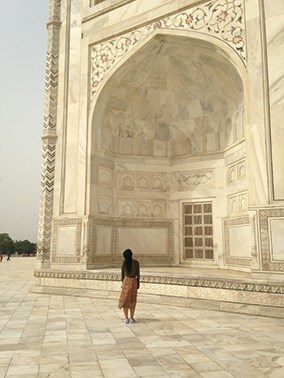 Student by the taj Mahal