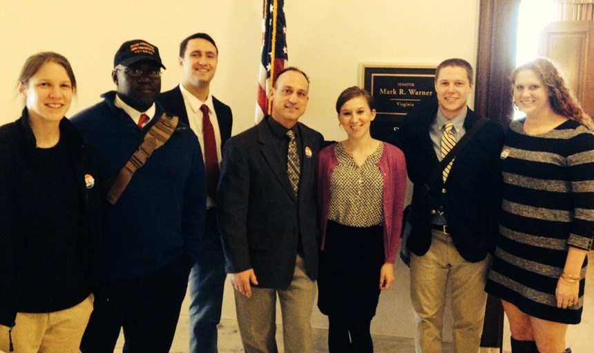 Dr. Michael Maina, Jack Brabham, Damon Daniels, Ray Dougherty, Candice Fisher and Kailey Sitzberger in Washington, D.C. with Senator Mark Warner