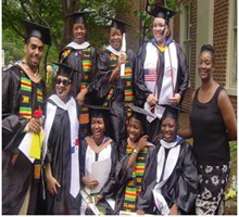The first group to wear ethnic sashes at graduation