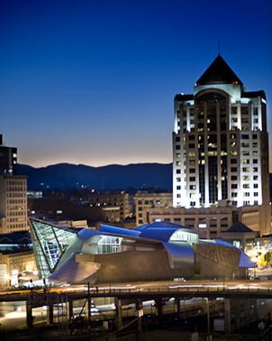 Art museum and wells fargo tower in Downtown Roanoke at night