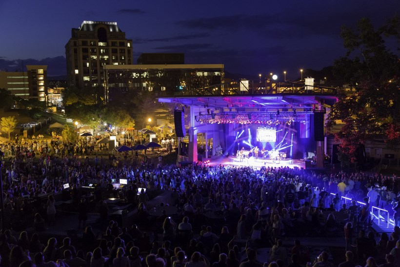 A concert at night in Downtown Roanoke