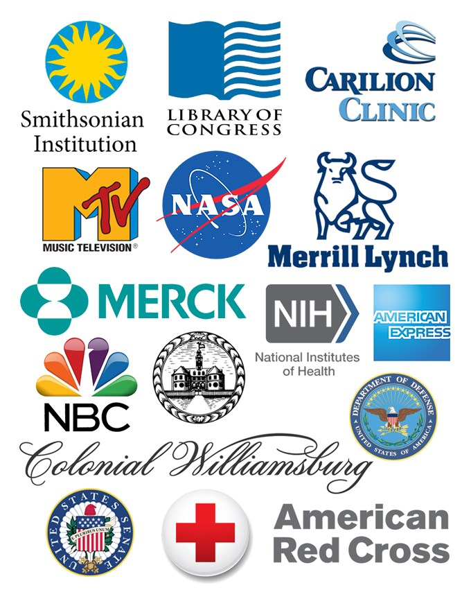 logos of organizations where Roanoke College students do internships