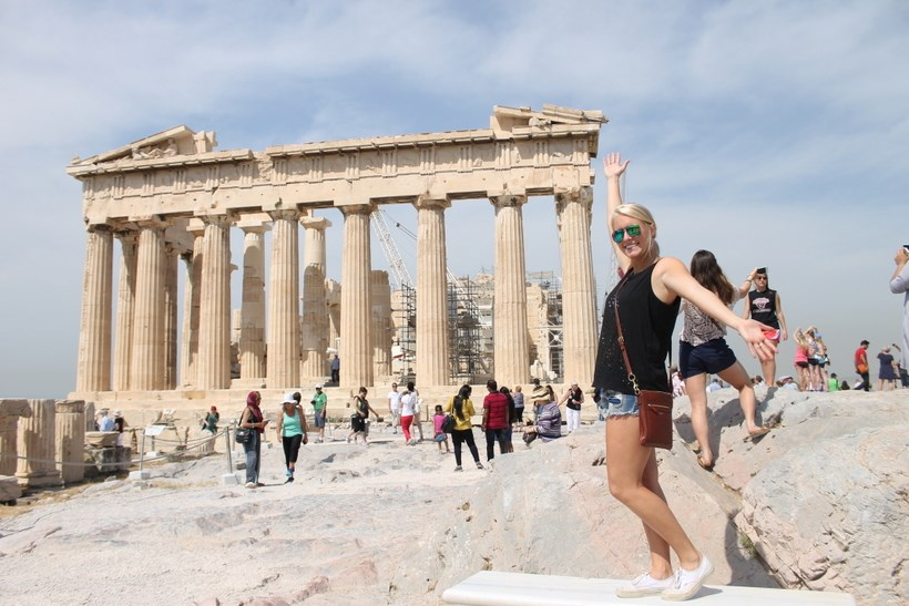 Student by the Parthenon