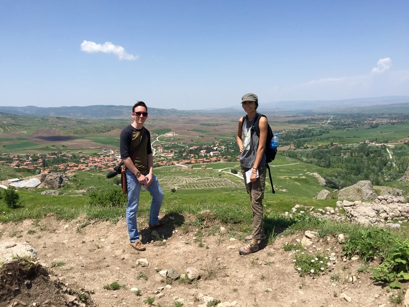 Two Roanoke students overlookng a town in Turkey