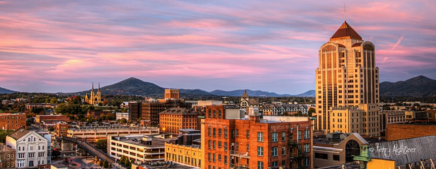 courtesy of Terry Aldhizer; downtown Roanoke at sunset