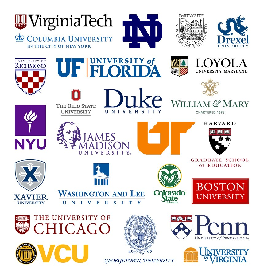 Logos of: Virginia Tech, Notre Dame, Columbia University, Dartmouth, Drexel, University of Richmond, University of Florida, Loyola, NYU, Ohio State University, William & Mary, Duke University, University of Tennessee, James Madison University, Harvard, Xavier, Colorado State University, Washington & Lee, University of Chicago, Boston University, University of Pennsylvania, University of Virginia, Georgetown University, Virginia Commonwealth University