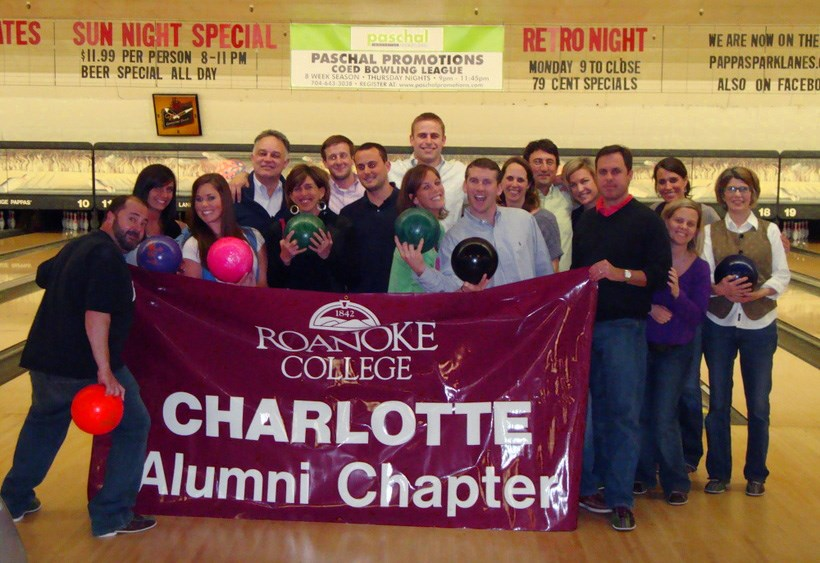 The Charlotte Alumni chapter at a local bowling alley