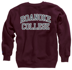 Maroon Roanoke College crew neck sweatshirt
