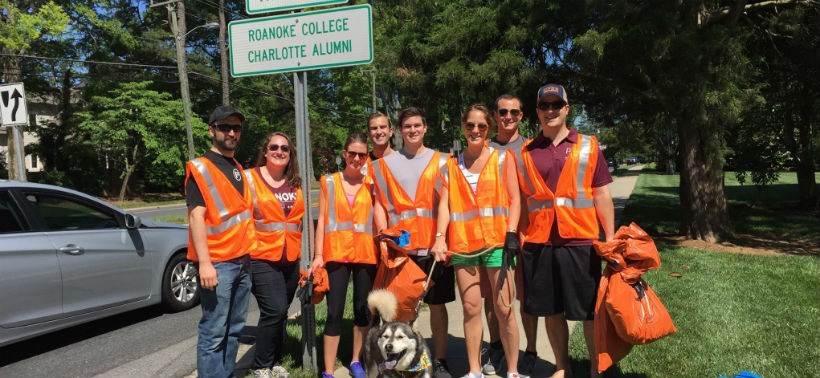 Charlotte Chapter alumni participate in a trash cleanup