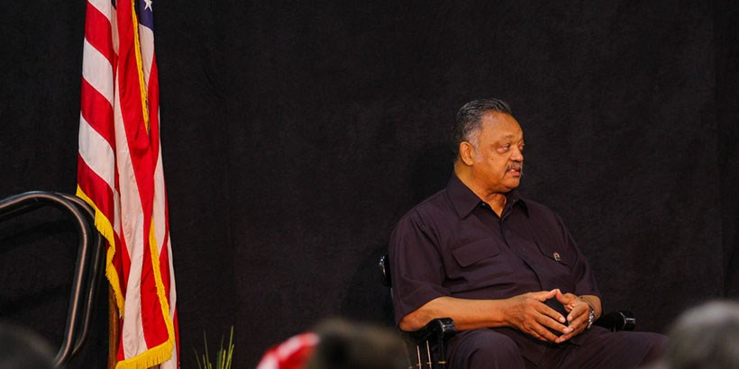 Jesse Jackson addresses the audience.