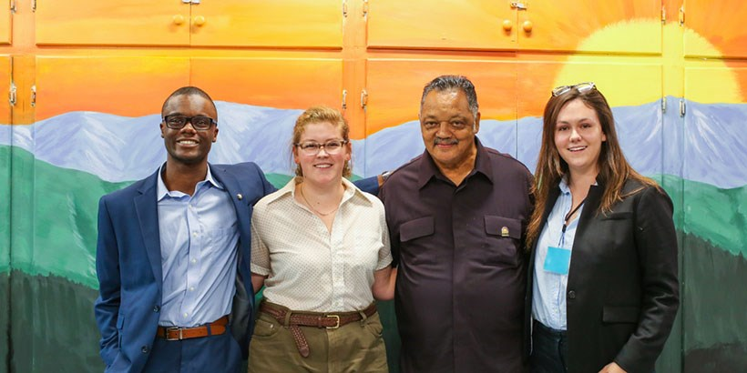 From left to right: Myles Cooper, Elizabeth Janes, Jesse Jackson and Leilani Doneux.
