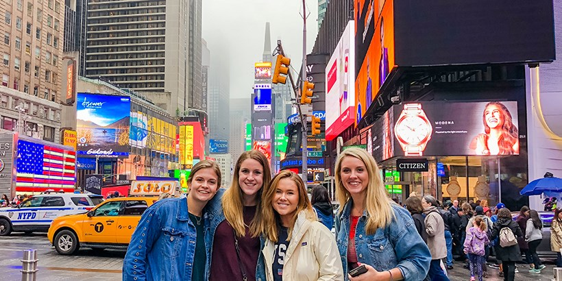 students in time square