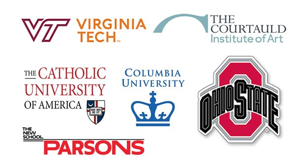 Logos of: Ohio State, Columbia University, Parsons, the Courtauld Institute of Art
