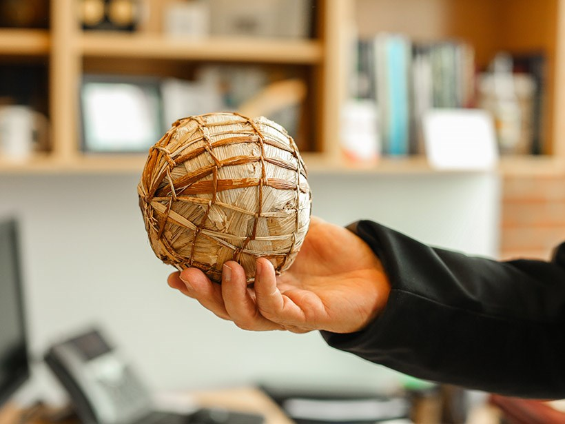Thatched soccer ball