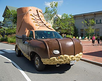 L.L.Bean Bootmobile rolling onto campus in November