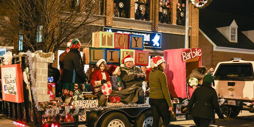 Toy Like Me float at Salem Christmas parade