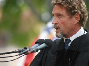 John McAfee speaks at Roanoke College.