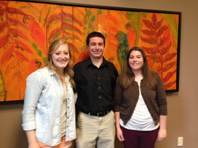 three students who completed their senior thesis